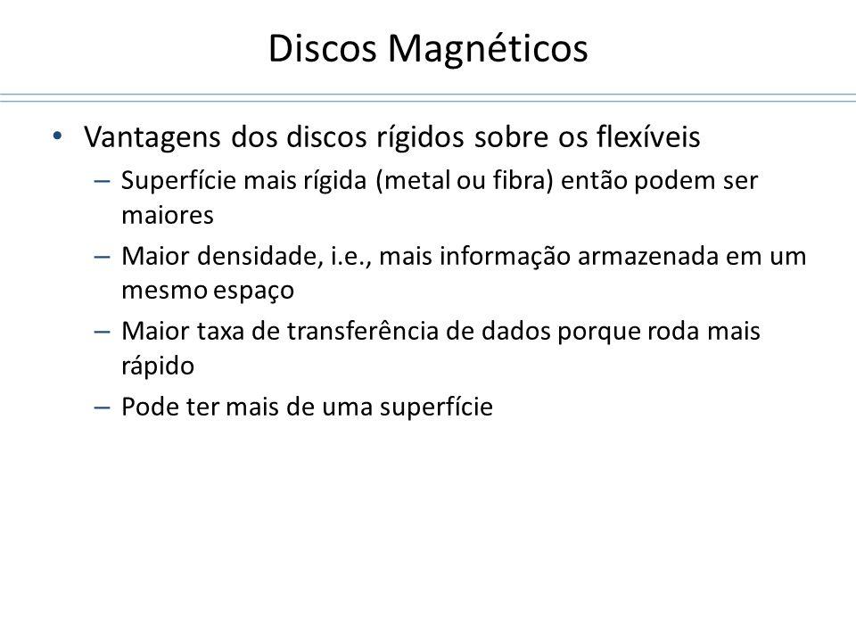 Discos Magnéticos Vantagens dos discos rígidos sobre os flexíveis