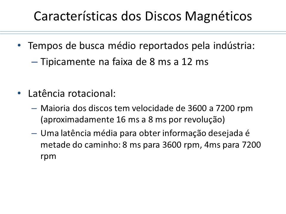 Características dos Discos Magnéticos