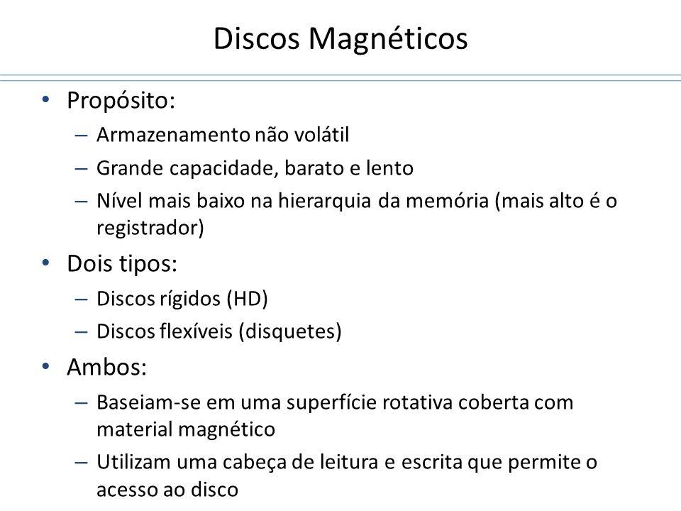Discos Magnéticos Propósito: Dois tipos: Ambos: