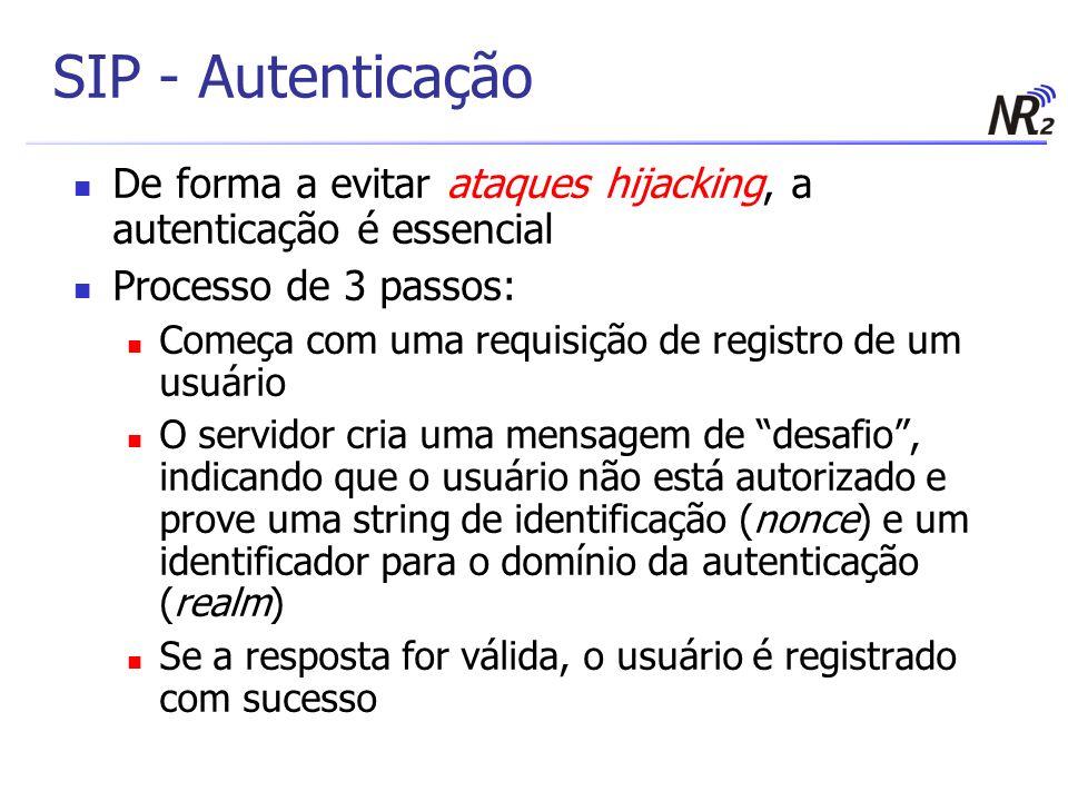 SIP - Autenticação De forma a evitar ataques hijacking, a autenticação é essencial. Processo de 3 passos:
