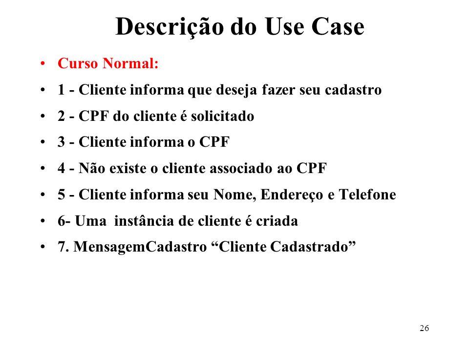 Descrição do Use Case Curso Normal: