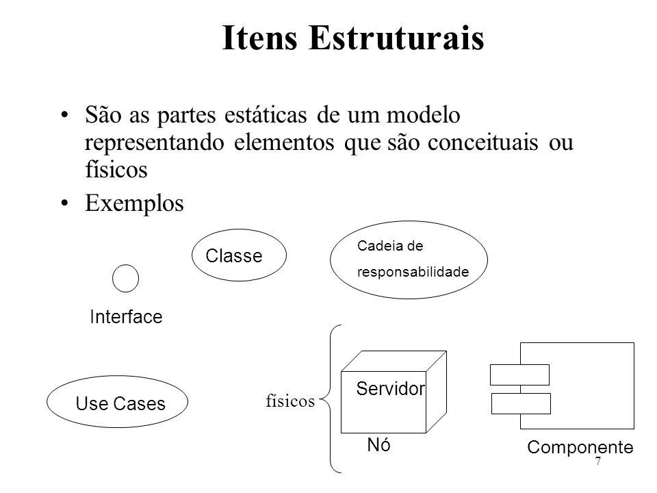 Itens Estruturais São as partes estáticas de um modelo representando elementos que são conceituais ou físicos.