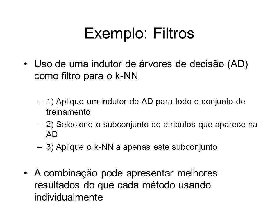 Exemplo: Filtros Uso de uma indutor de árvores de decisão (AD) como filtro para o k-NN.