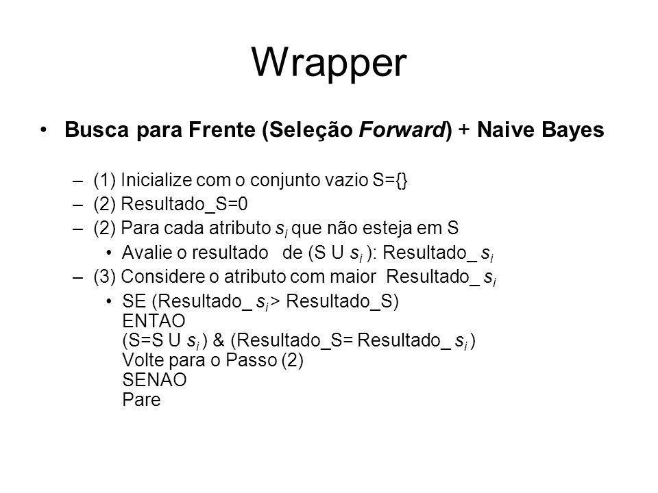 Wrapper Busca para Frente (Seleção Forward) + Naive Bayes
