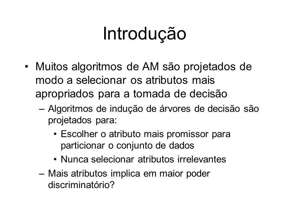 Introdução Muitos algoritmos de AM são projetados de modo a selecionar os atributos mais apropriados para a tomada de decisão.