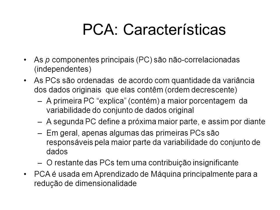 PCA: CaracterísticasAs p componentes principais (PC) são não-correlacionadas (independentes)