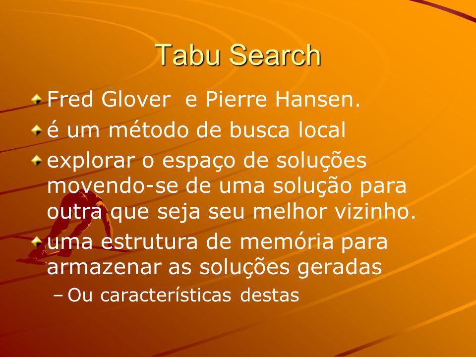 Tabu Search Fred Glover e Pierre Hansen. é um método de busca local