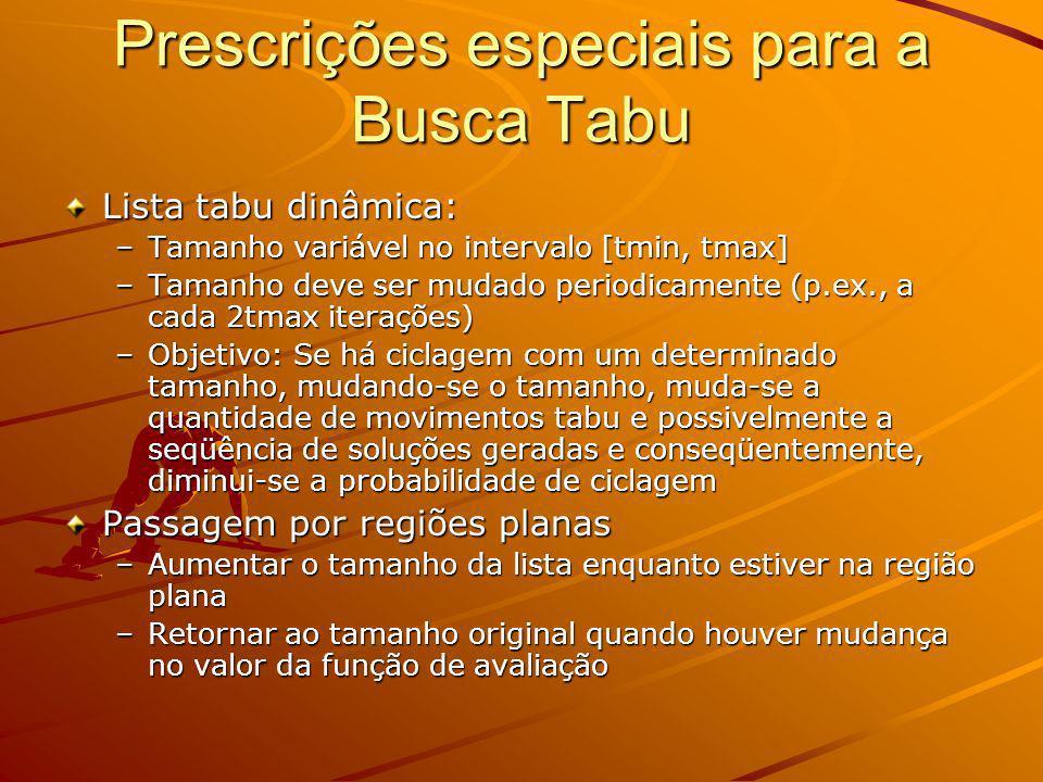 Prescrições especiais para a Busca Tabu