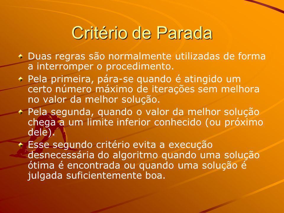 Critério de Parada Duas regras são normalmente utilizadas de forma a interromper o procedimento.