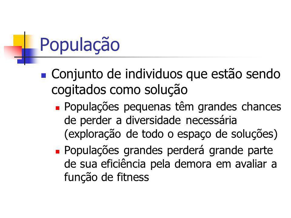 População Conjunto de individuos que estão sendo cogitados como solução.