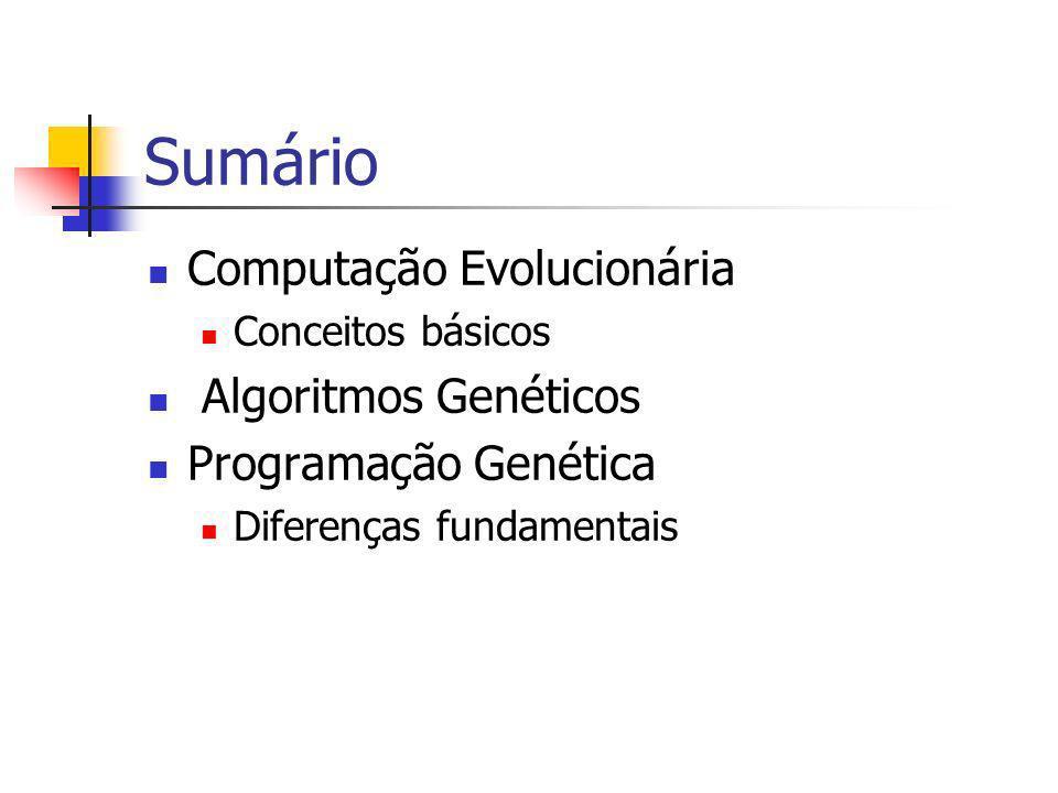 Sumário Computação Evolucionária Algoritmos Genéticos