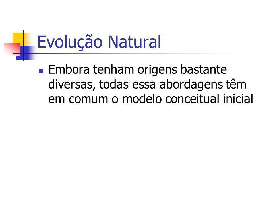 Evolução Natural Embora tenham origens bastante diversas, todas essa abordagens têm em comum o modelo conceitual inicial.
