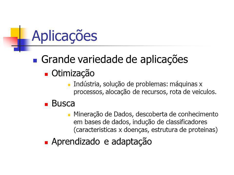 Aplicações Grande variedade de aplicações Otimização Busca