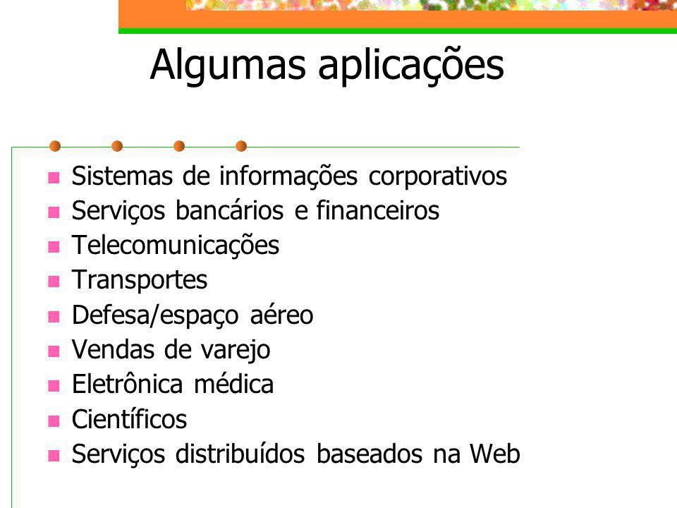 Algumas aplicações Sistemas de informações corporativos
