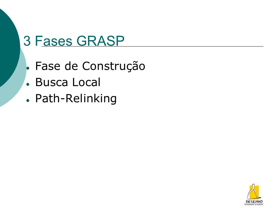3 Fases GRASP Fase de Construção Busca Local Path-Relinking