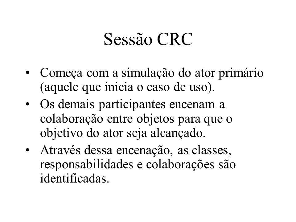 Sessão CRCComeça com a simulação do ator primário (aquele que inicia o caso de uso).