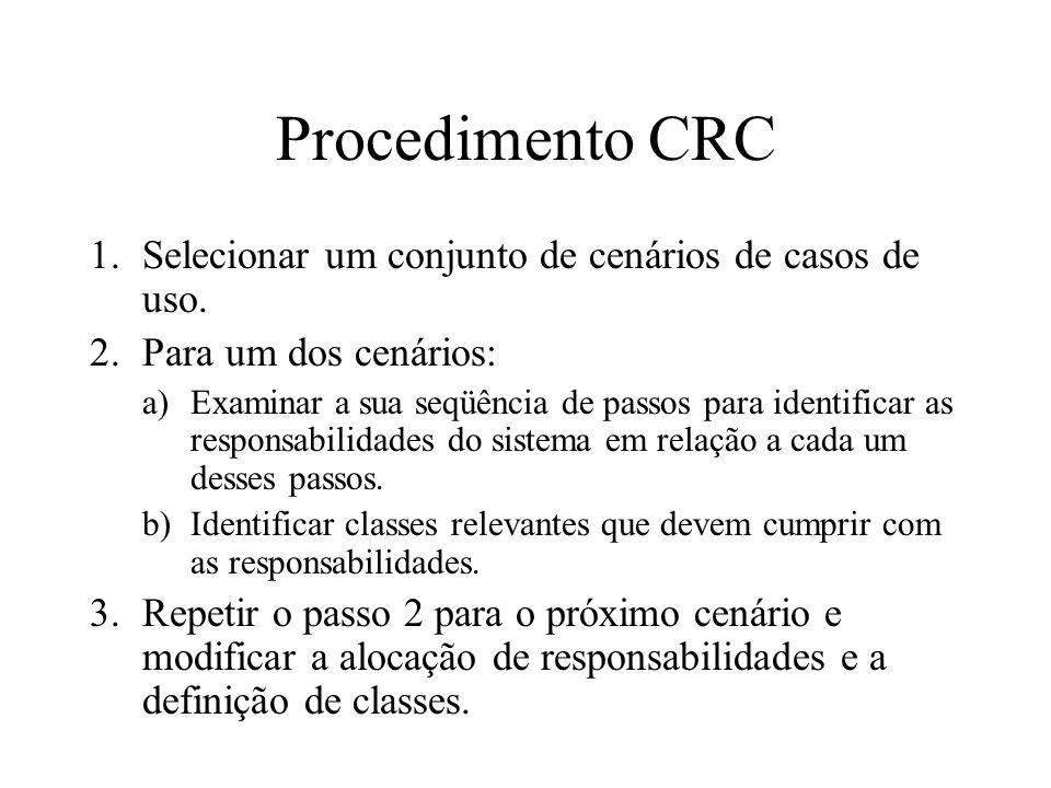 Procedimento CRC Selecionar um conjunto de cenários de casos de uso.