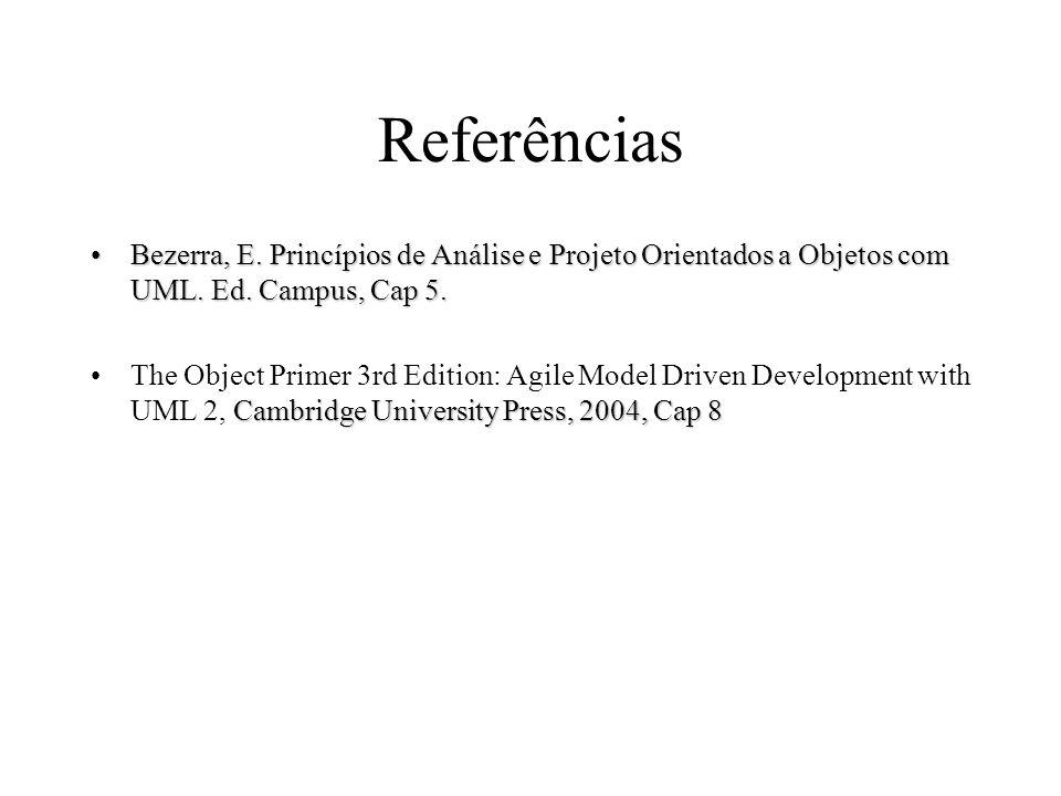 Referências Bezerra, E. Princípios de Análise e Projeto Orientados a Objetos com UML. Ed. Campus, Cap 5.