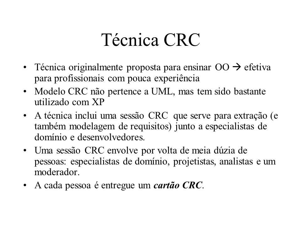 Técnica CRC Técnica originalmente proposta para ensinar OO  efetiva para profissionais com pouca experiência.