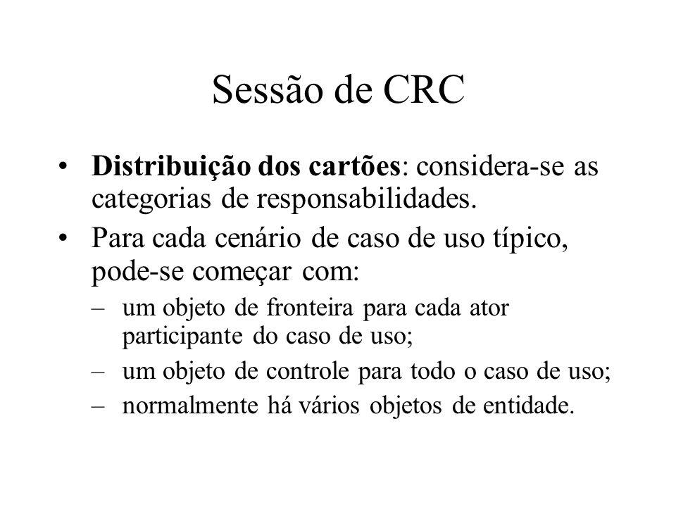 Sessão de CRC Distribuição dos cartões: considera-se as categorias de responsabilidades.