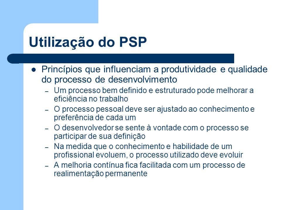Utilização do PSP Princípios que influenciam a produtividade e qualidade do processo de desenvolvimento.
