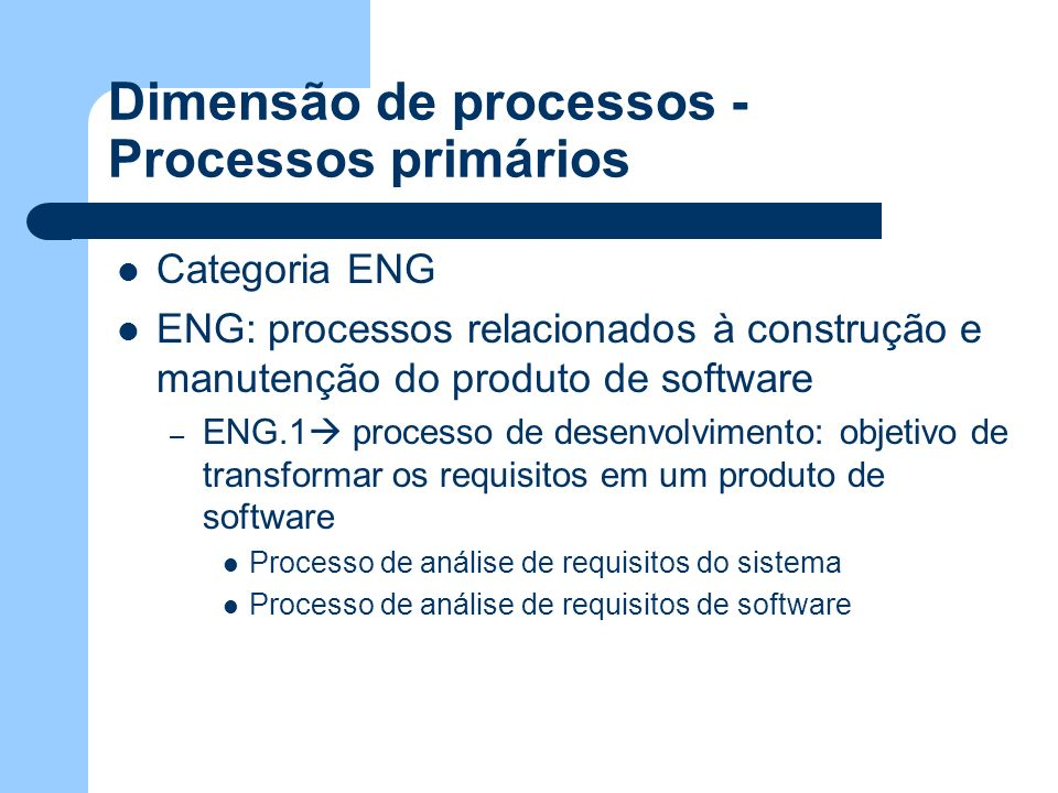 Dimensão de processos - Processos primários