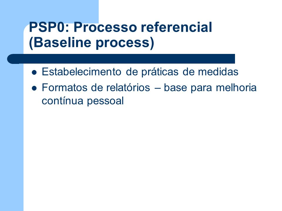 PSP0: Processo referencial (Baseline process)