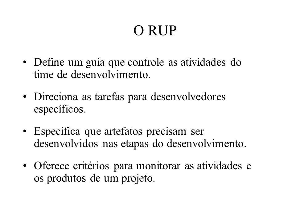 O RUP Define um guia que controle as atividades do time de desenvolvimento. Direciona as tarefas para desenvolvedores específicos.