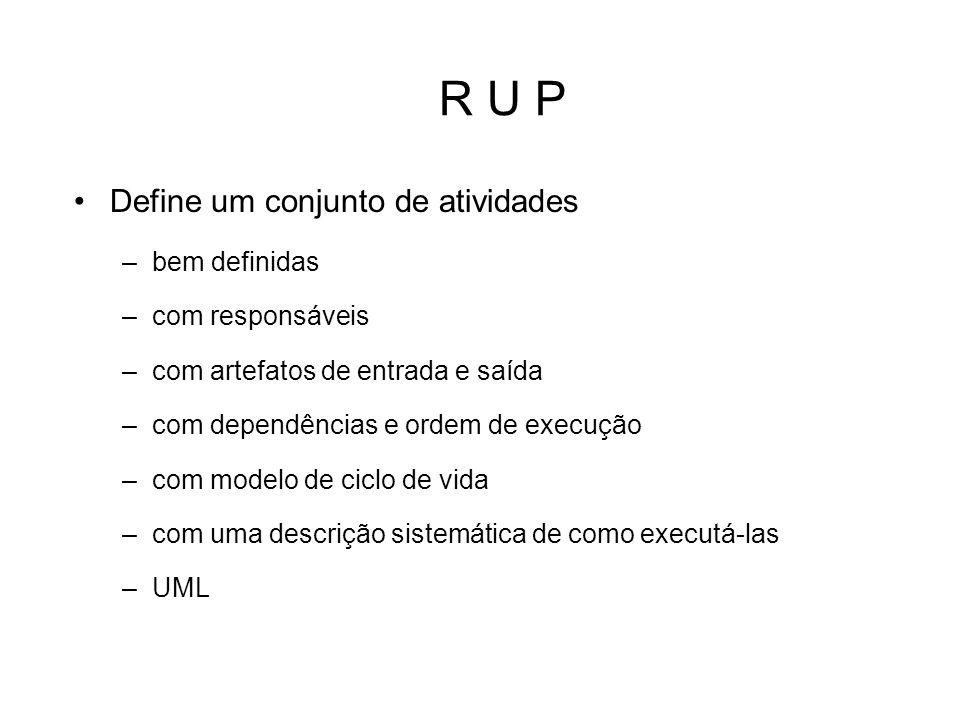 R U P Define um conjunto de atividades bem definidas com responsáveis