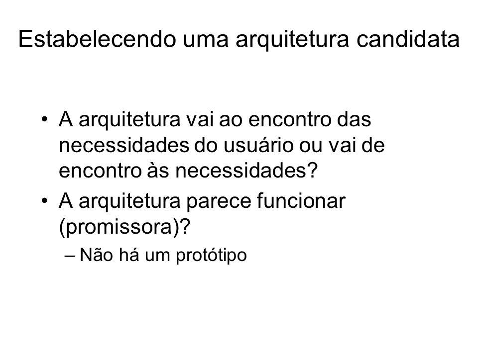 Estabelecendo uma arquitetura candidata