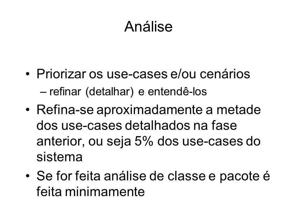 Análise Priorizar os use-cases e/ou cenários