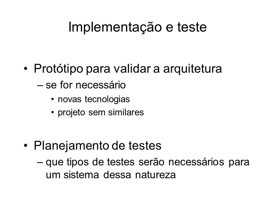 Implementação e teste Protótipo para validar a arquitetura