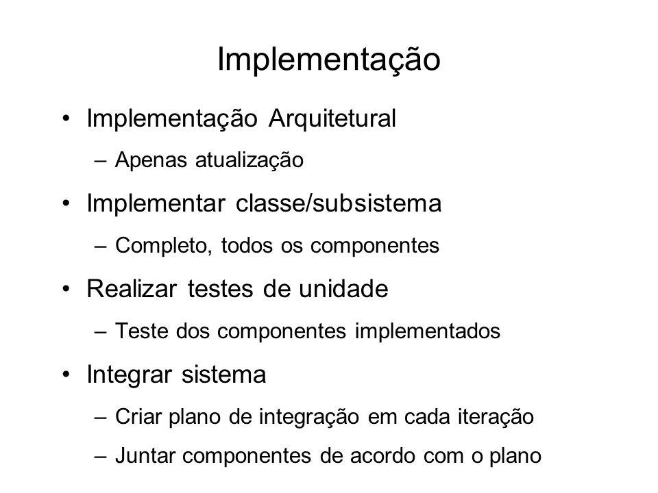 Implementação Implementação Arquitetural Implementar classe/subsistema