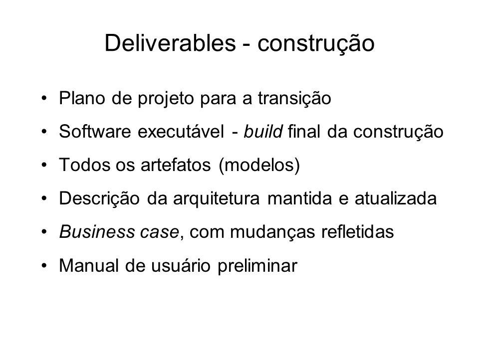 Deliverables - construção