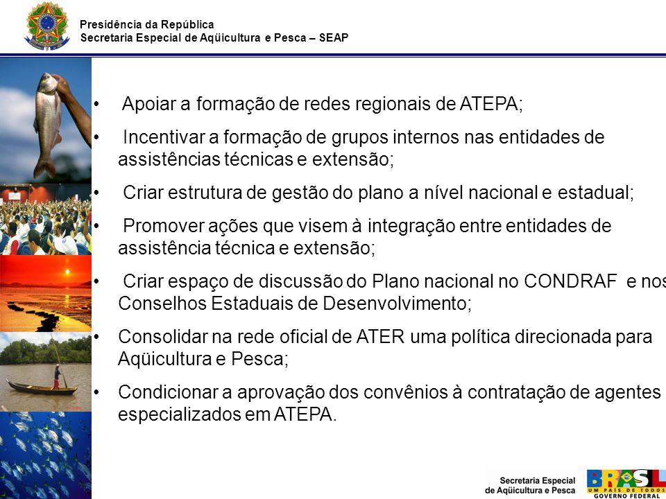Apoiar a formação de redes regionais de ATEPA;