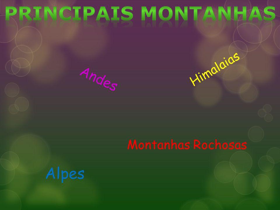 Principais montanhas Himalaias Andes Montanhas Rochosas Alpes