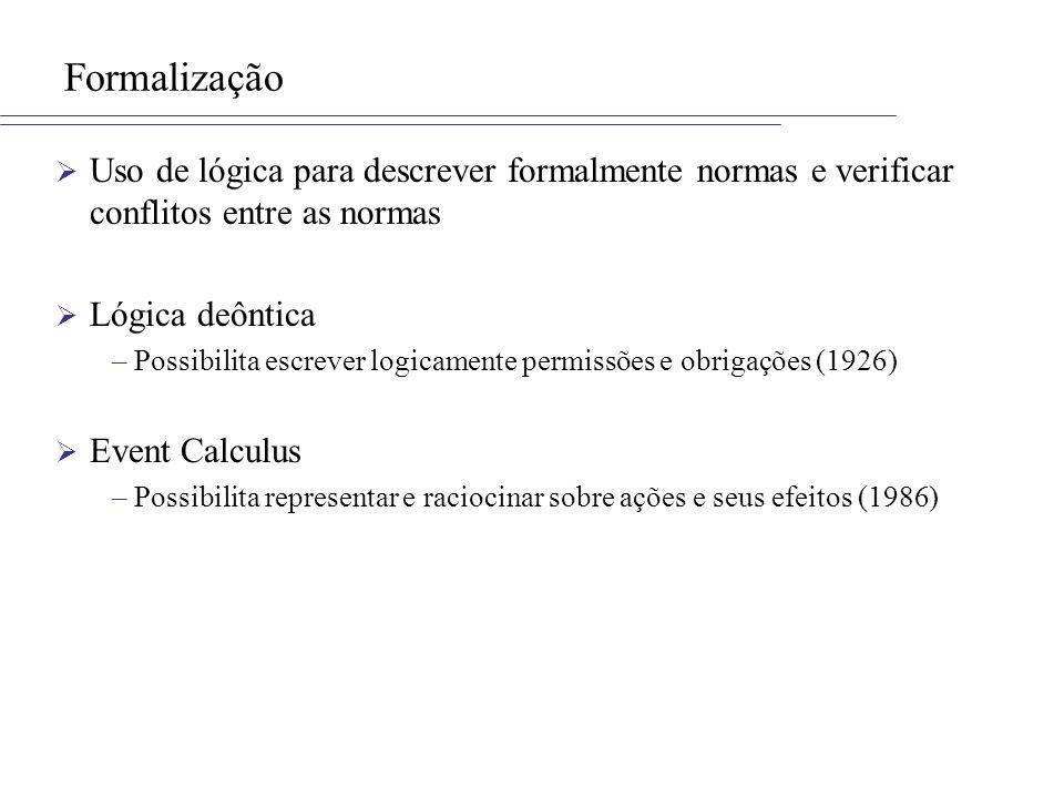 Formalização Uso de lógica para descrever formalmente normas e verificar conflitos entre as normas.