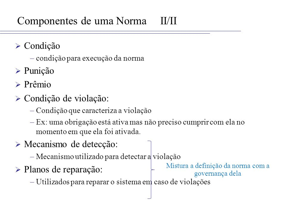 Componentes de uma Norma II/II