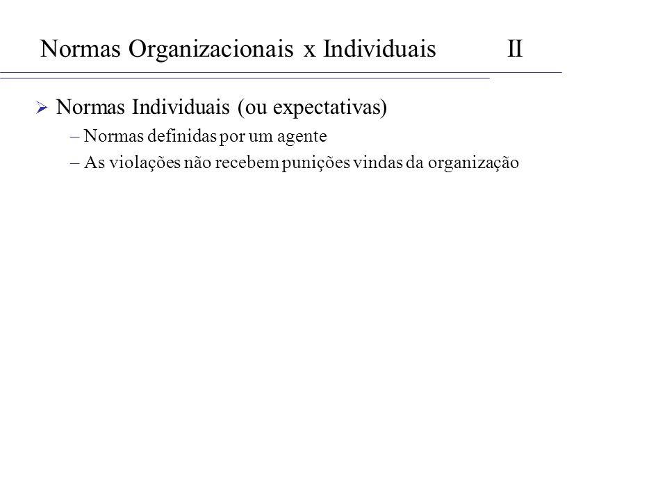 Normas Organizacionais x Individuais II