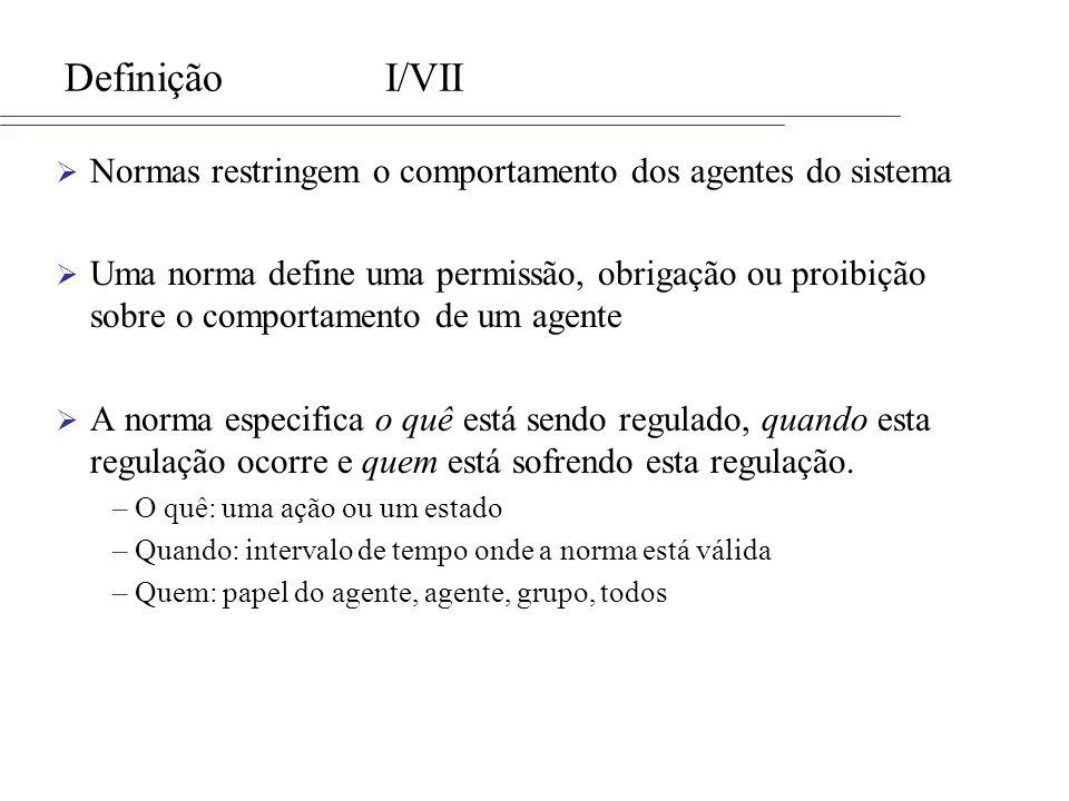 Definição I/VII Normas restringem o comportamento dos agentes do sistema.