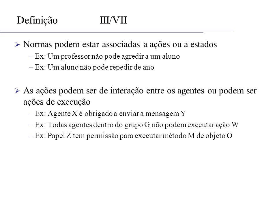Definição III/VII Normas podem estar associadas a ações ou a estados
