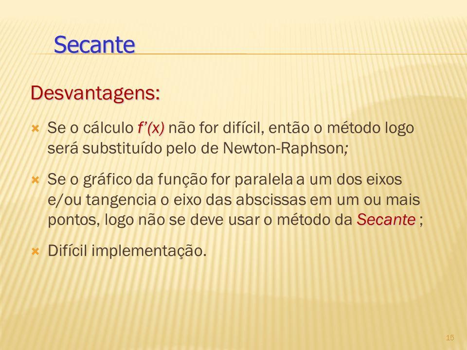 Secante Desvantagens: