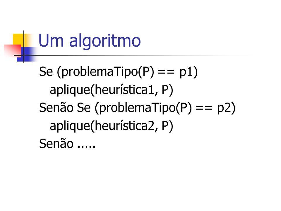 Um algoritmo Se (problemaTipo(P) == p1) aplique(heurística1, P)