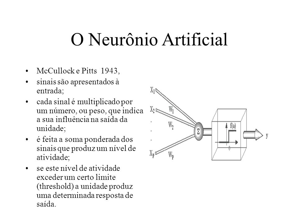 O Neurônio Artificial McCullock e Pitts 1943,