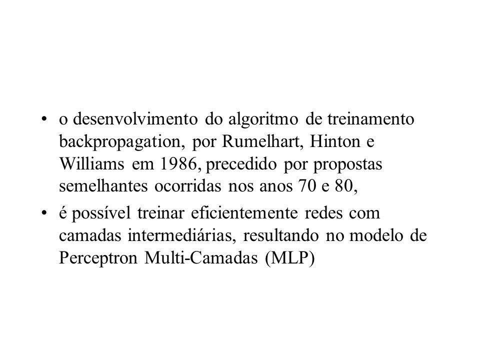 o desenvolvimento do algoritmo de treinamento backpropagation, por Rumelhart, Hinton e Williams em 1986, precedido por propostas semelhantes ocorridas nos anos 70 e 80,