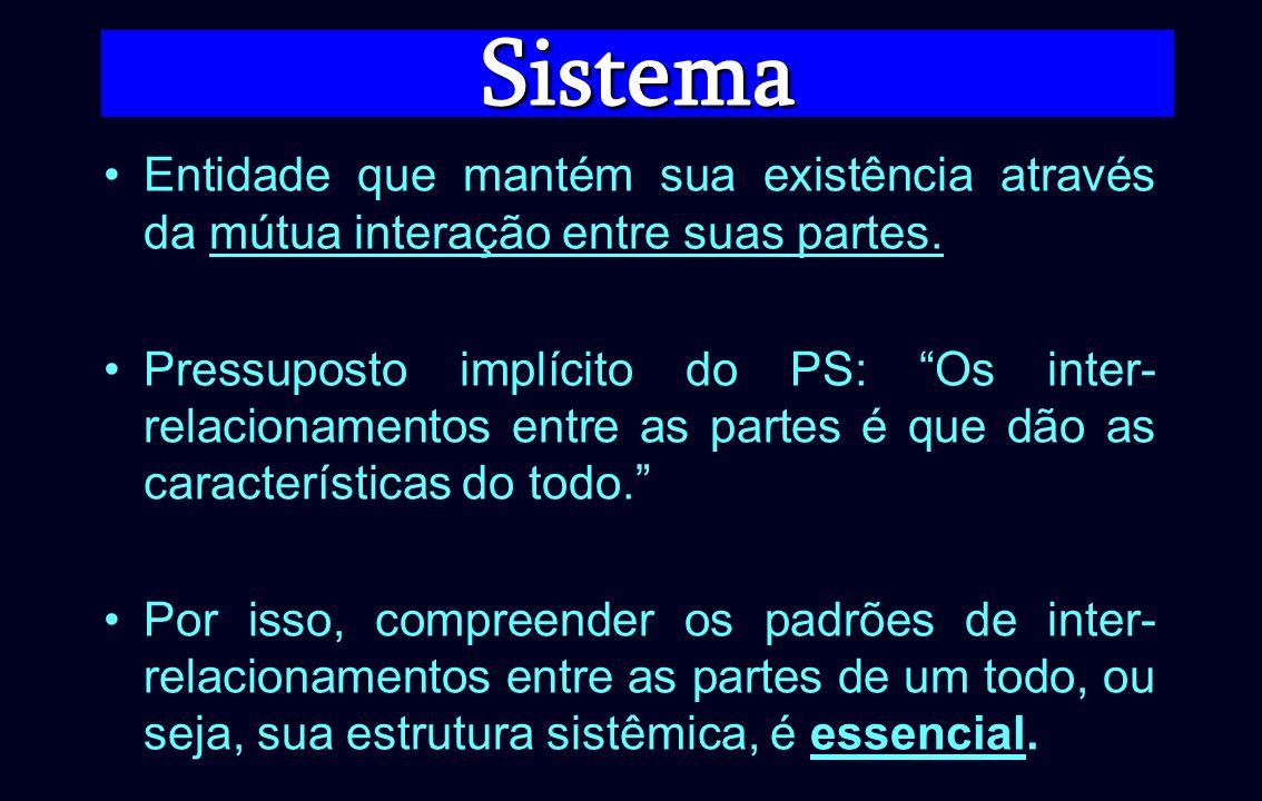 Sistema Entidade que mantém sua existência através da mútua interação entre suas partes.
