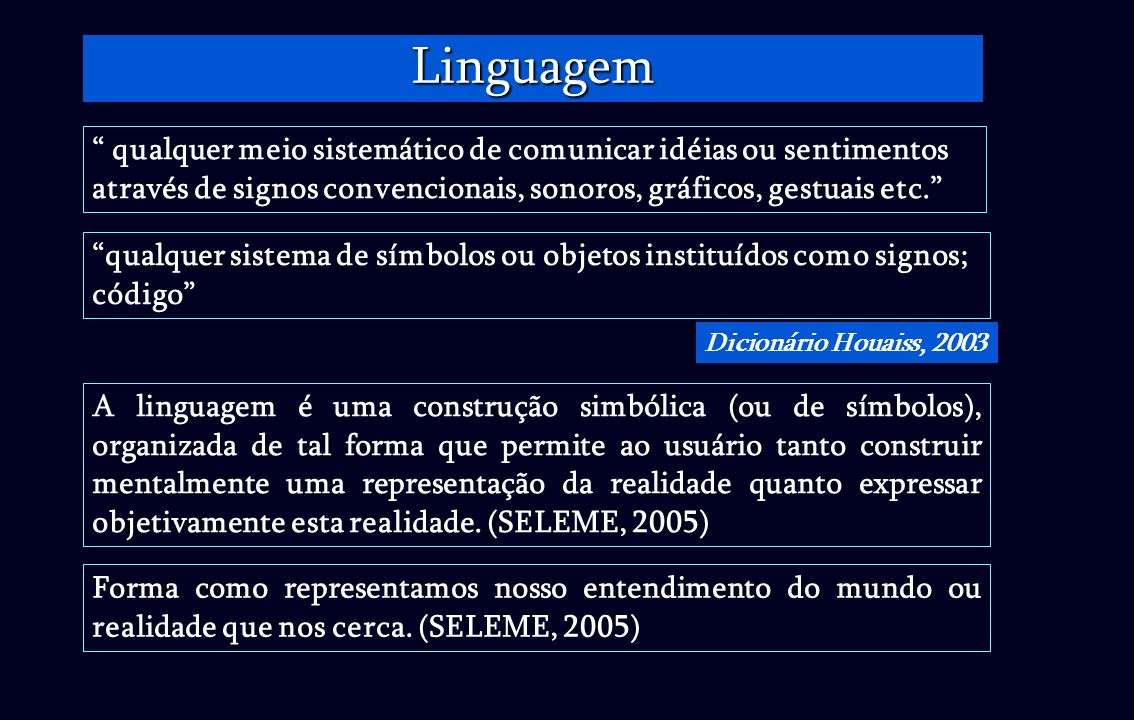 Linguagem qualquer meio sistemático de comunicar idéias ou sentimentos através de signos convencionais, sonoros, gráficos, gestuais etc.