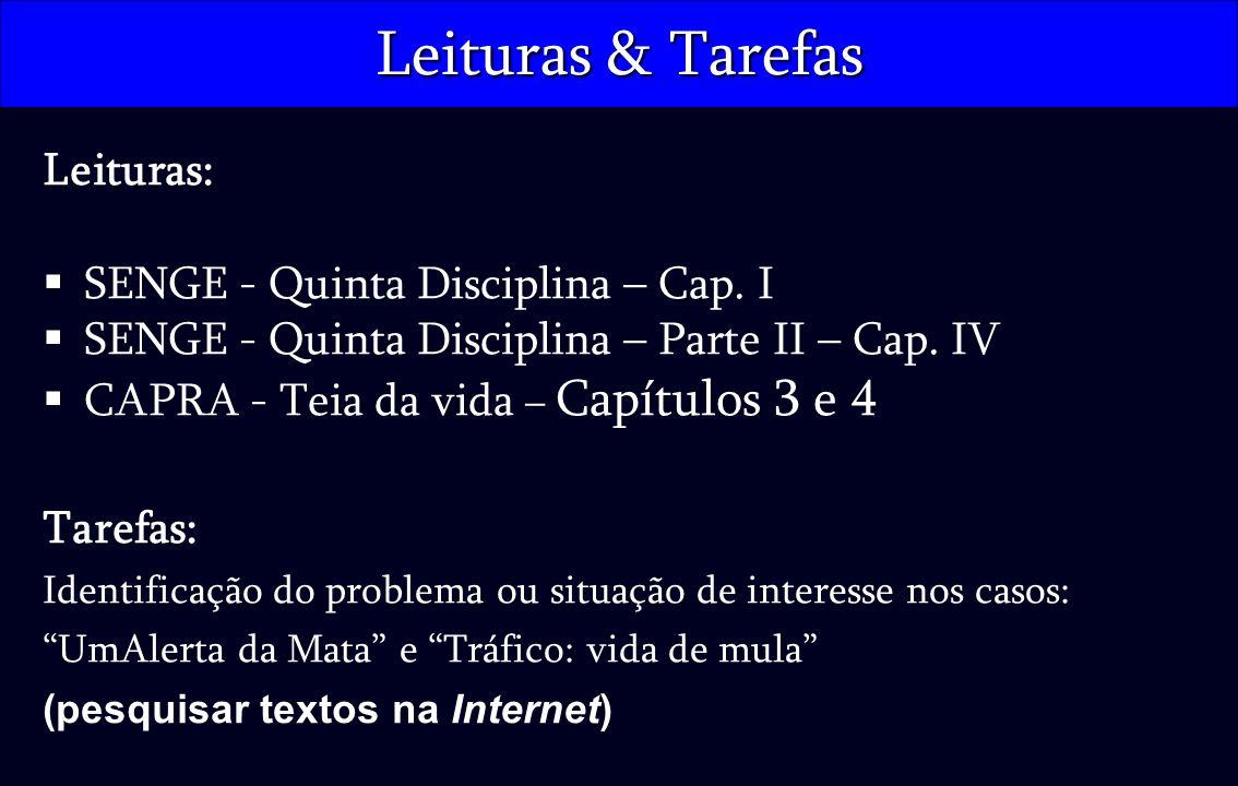 Leituras & Tarefas Leituras: SENGE - Quinta Disciplina – Cap. I