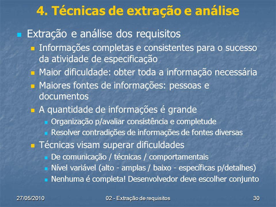 4. Técnicas de extração e análise