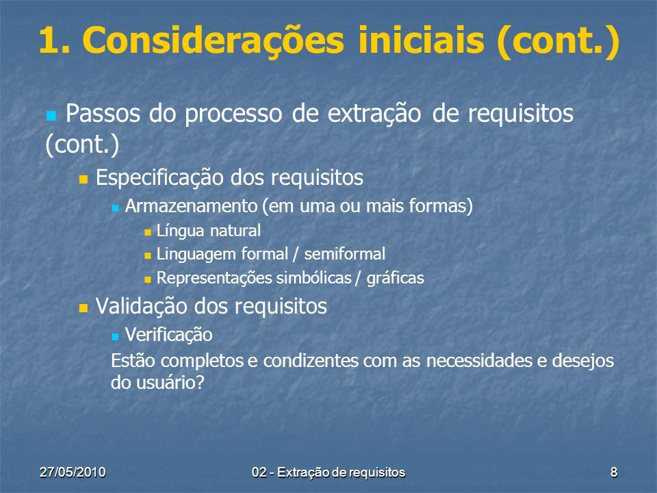 1. Considerações iniciais (cont.)